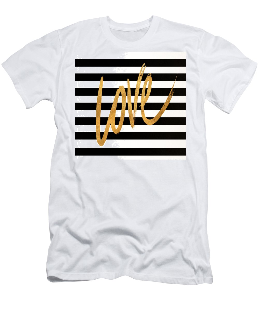 Valentines T-Shirt featuring the digital art Valentines Stripes Iv by South Social Graphics