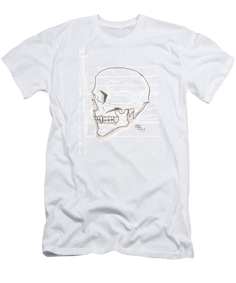 Skull Men's T-Shirt (Athletic Fit) featuring the drawing Vampire Skull by Jeffrey Oleniacz
