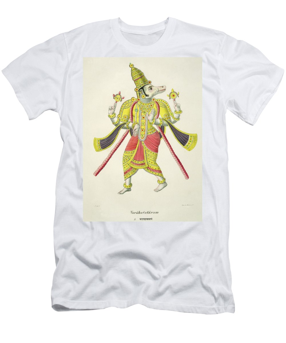Third Incarnation Of Vishnu Men's T-Shirt (Athletic Fit) featuring the drawing Varaha, Engraved By De Marlet by French School