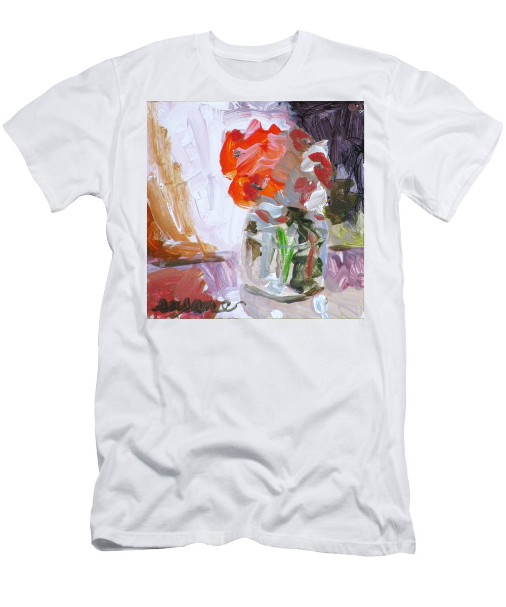 Floral Men's T-Shirt (Athletic Fit) featuring the painting Vase Of Flowers II by Susan Elizabeth Jones