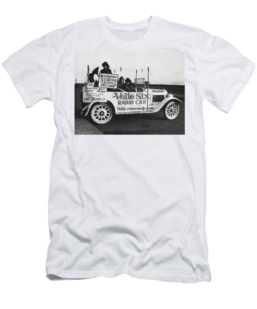 1920s Men's T-Shirt (Athletic Fit) featuring the photograph Velie Six Radio Car by Underwood & Underwood