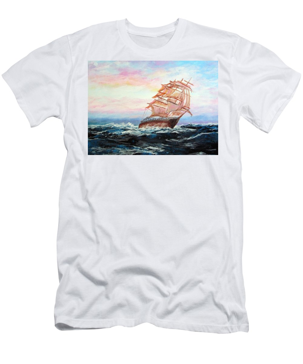 Piero C - Veliero In Navigazione - Tallship Navigation - Fine Art Paintings Men's T-Shirt (Athletic Fit) featuring the painting Veliero In Navigazione by Piero C