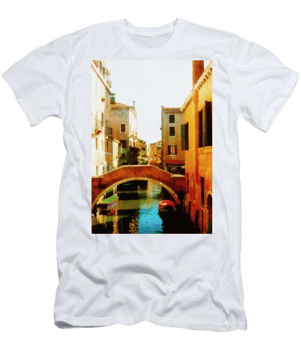 Venezia Men's T-Shirt (Athletic Fit) featuring the photograph Venice Italy Canal With Boats And Laundry by Michelle Calkins