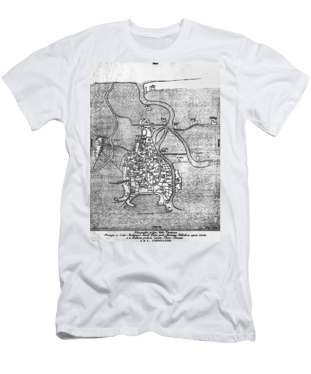 12th Century Men's T-Shirt (Athletic Fit) featuring the photograph Venice: Map, 12th Century by Granger
