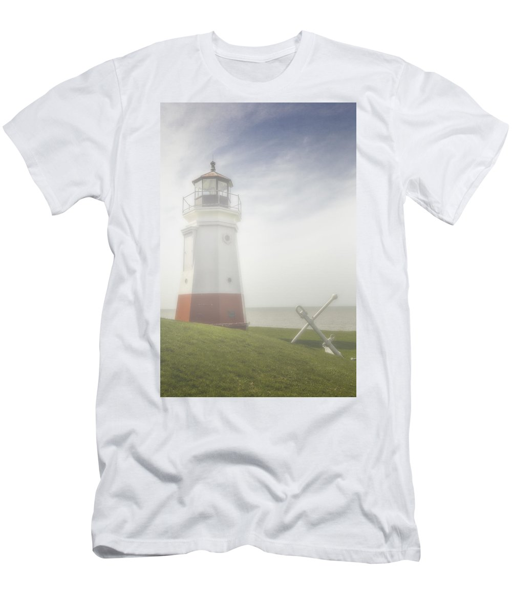 Erie Men's T-Shirt (Athletic Fit) featuring the photograph Vermillion Lighthouse Ohio by Jack R Perry