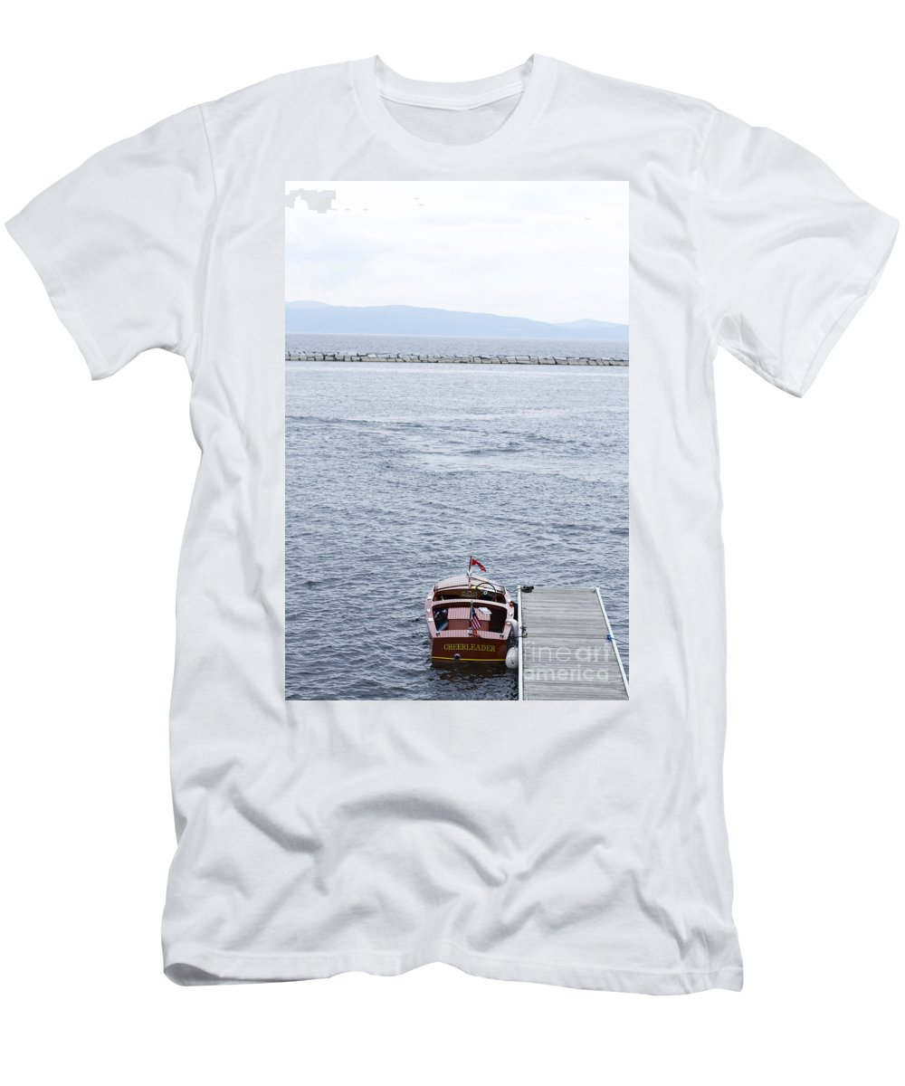 Men's T-Shirt (Athletic Fit) featuring the photograph Vermont Boat Pier by Sara Schroeder