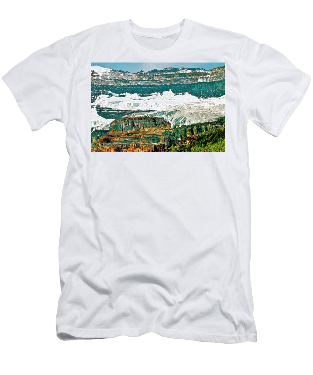 Victoria Glacier From Plain Of Six Glaciers In Banff National Park Men's T-Shirt (Athletic Fit) featuring the photograph Victoria Glacier From Plain Of Six Glaciers Trail In Banff Np-ab by Ruth Hager