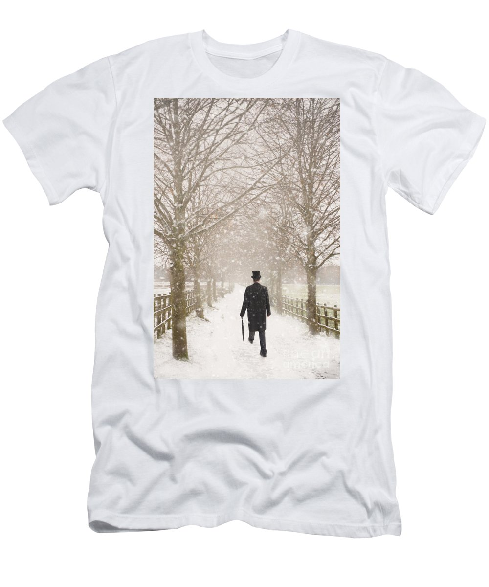 Man Men's T-Shirt (Athletic Fit) featuring the photograph Victorian Gentleman In Snow by Lee Avison