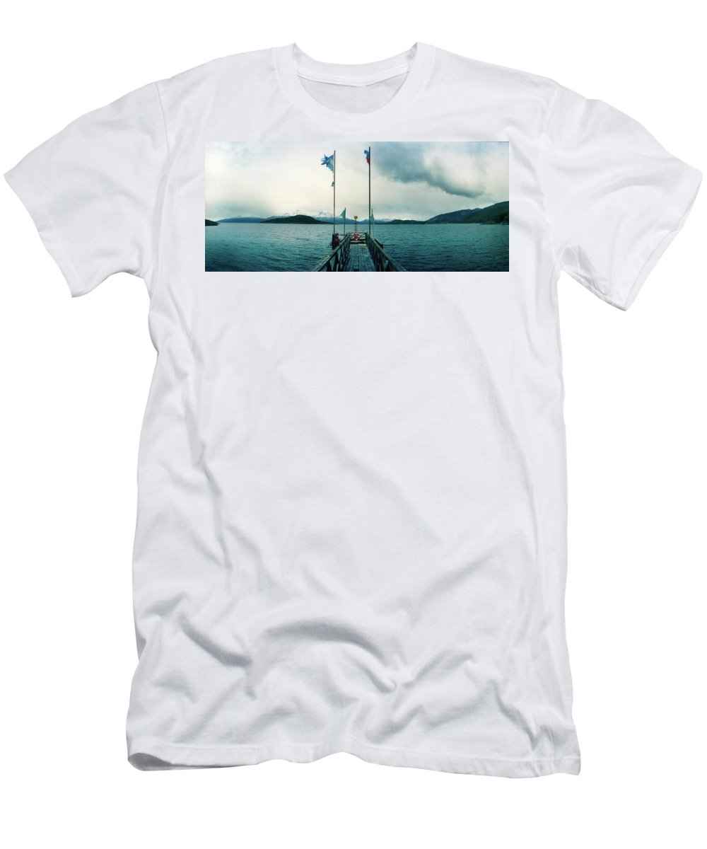 Photography Men's T-Shirt (Athletic Fit) featuring the photograph View Of Pier In Bay Of Water, Tierra by Panoramic Images
