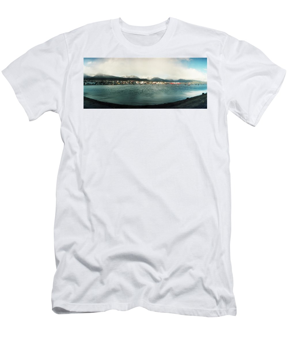Photography Men's T-Shirt (Athletic Fit) featuring the photograph View Of The City Of Ushuaia, Tierra Del by Panoramic Images