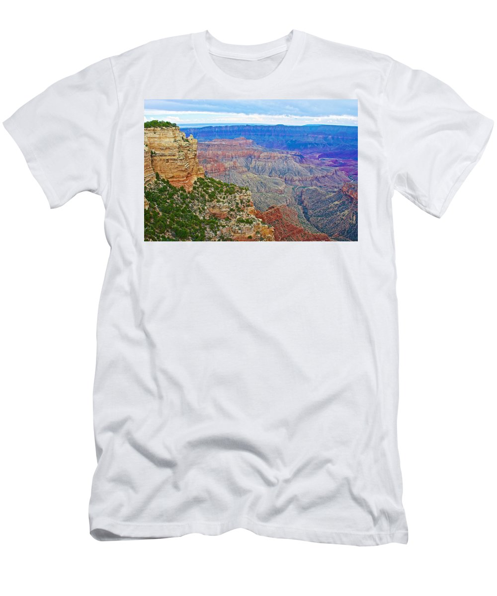 View Three From Walhalla Overlook On On North Rim/grand Canyon National Park Men's T-Shirt (Athletic Fit) featuring the photograph View Three From Walhalla Overlook On North Rim Of Grand Canyon-arizona by Ruth Hager