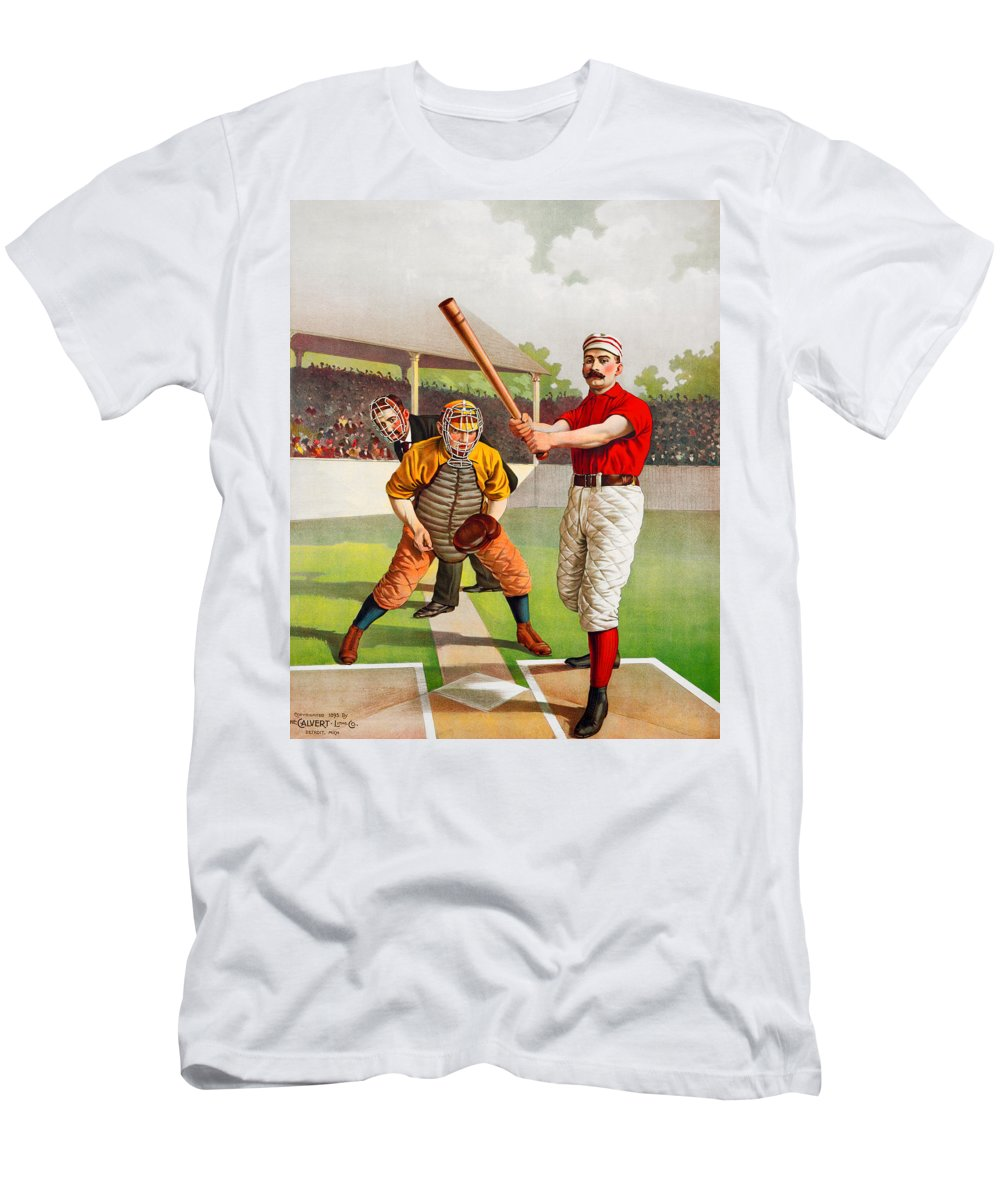 Baseball Men's T-Shirt (Athletic Fit) featuring the painting Vintage Baseball Print by John Farr