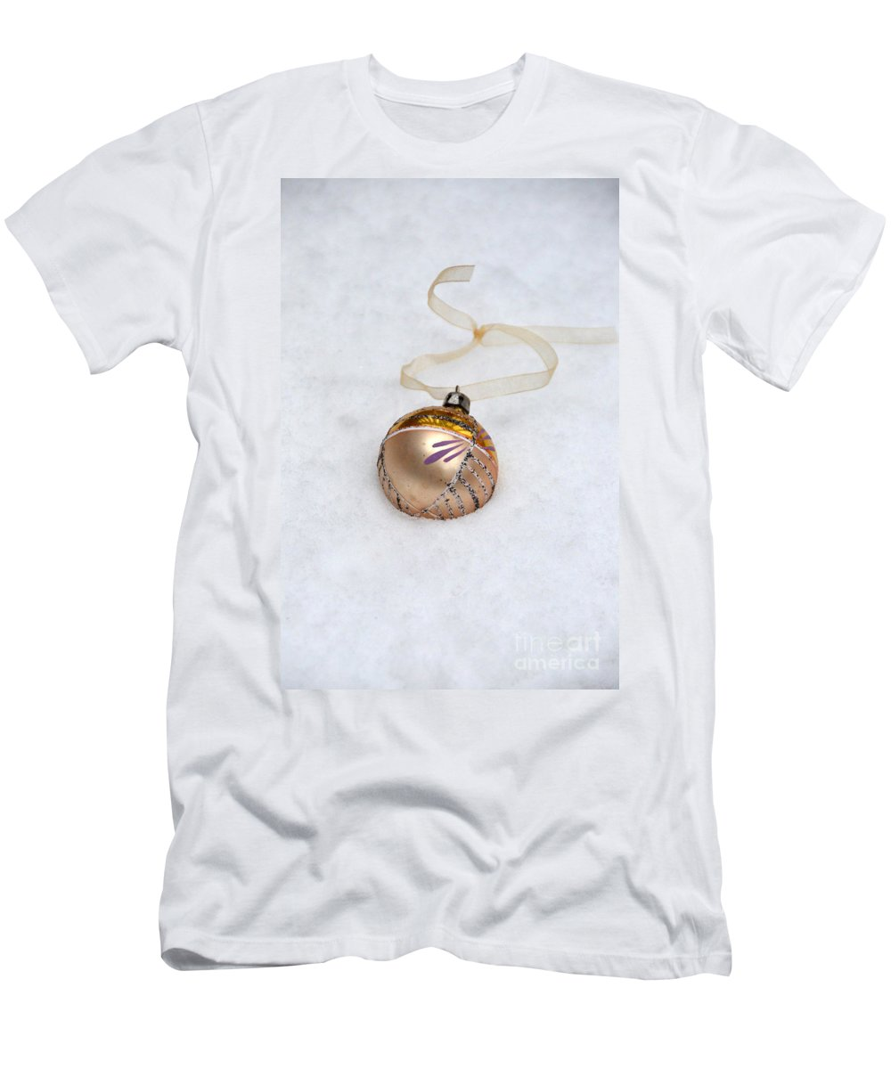 Ornament Men's T-Shirt (Athletic Fit) featuring the photograph Vintage Christmas Ornament In Snow by Jill Battaglia