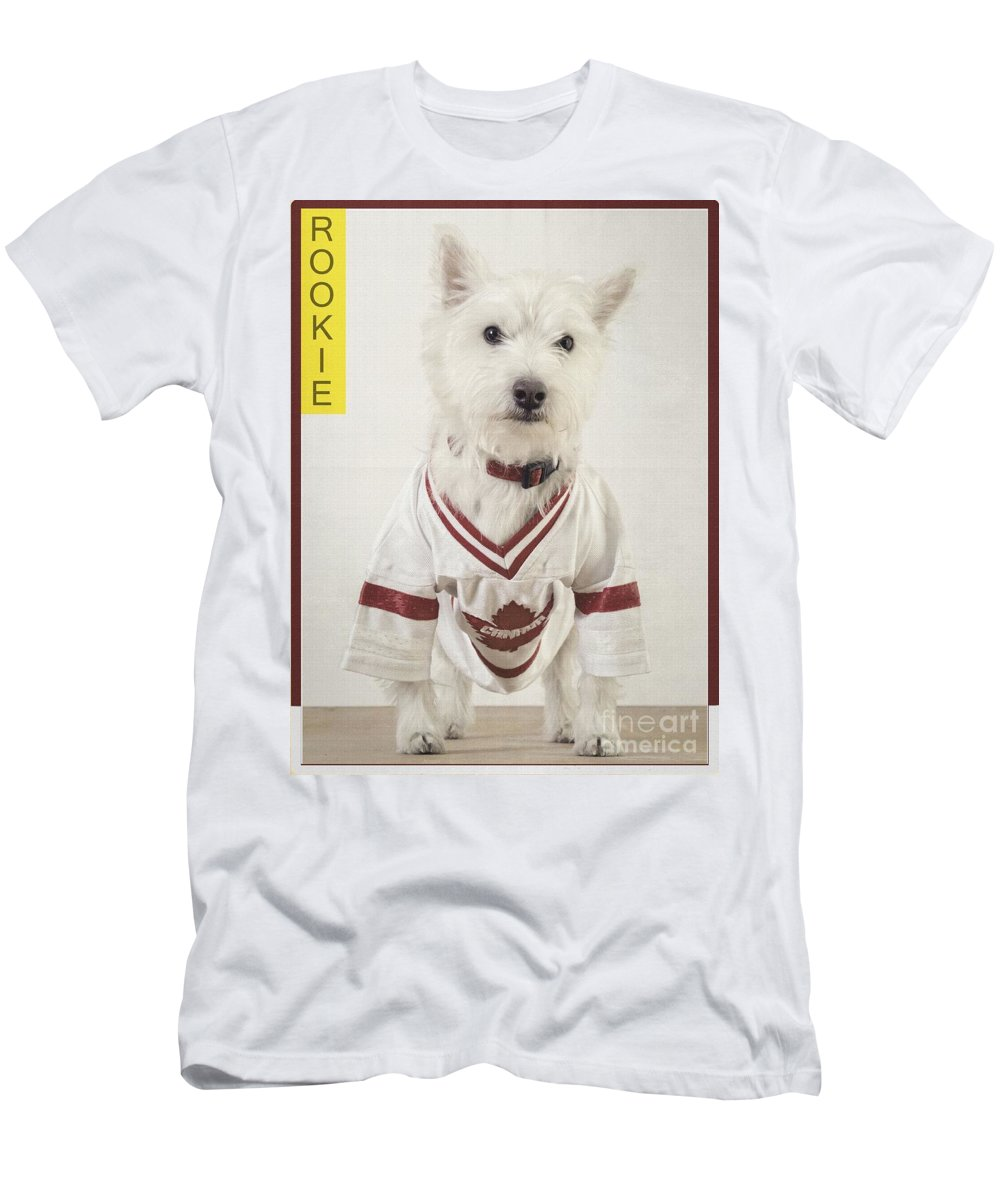 Dog Men's T-Shirt (Athletic Fit) featuring the photograph Vintage Hockey Rookie Player Card by Edward Fielding