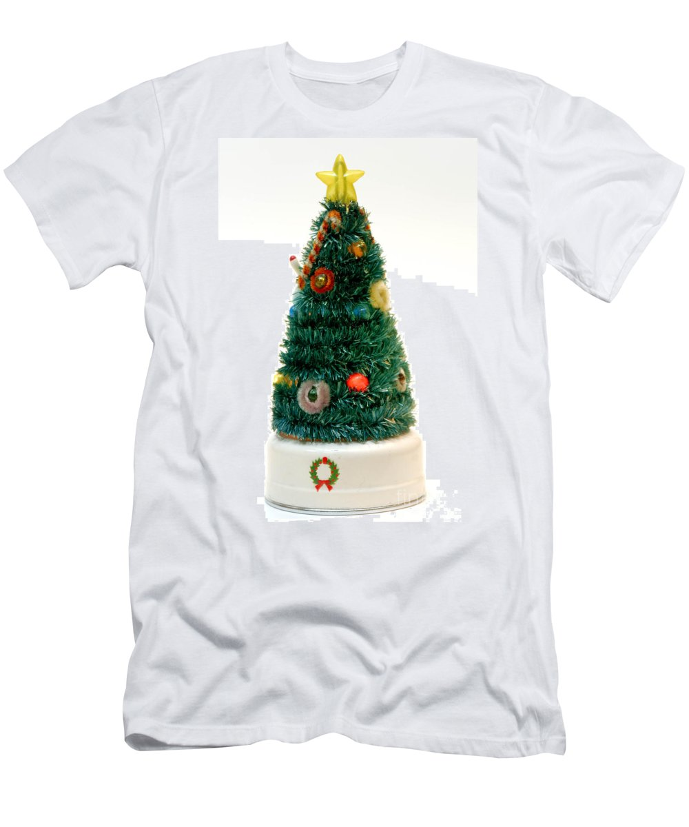 Antique Men's T-Shirt (Athletic Fit) featuring the photograph Vintage Lighted Christmas Tree Decoration by Amy Cicconi