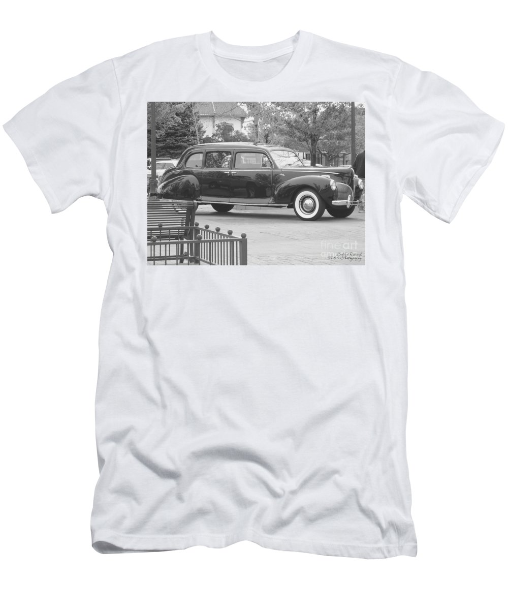 Acrylic Prints Men's T-Shirt (Athletic Fit) featuring the photograph Vintage Lincoln Limo Black N White by Bobbee Rickard