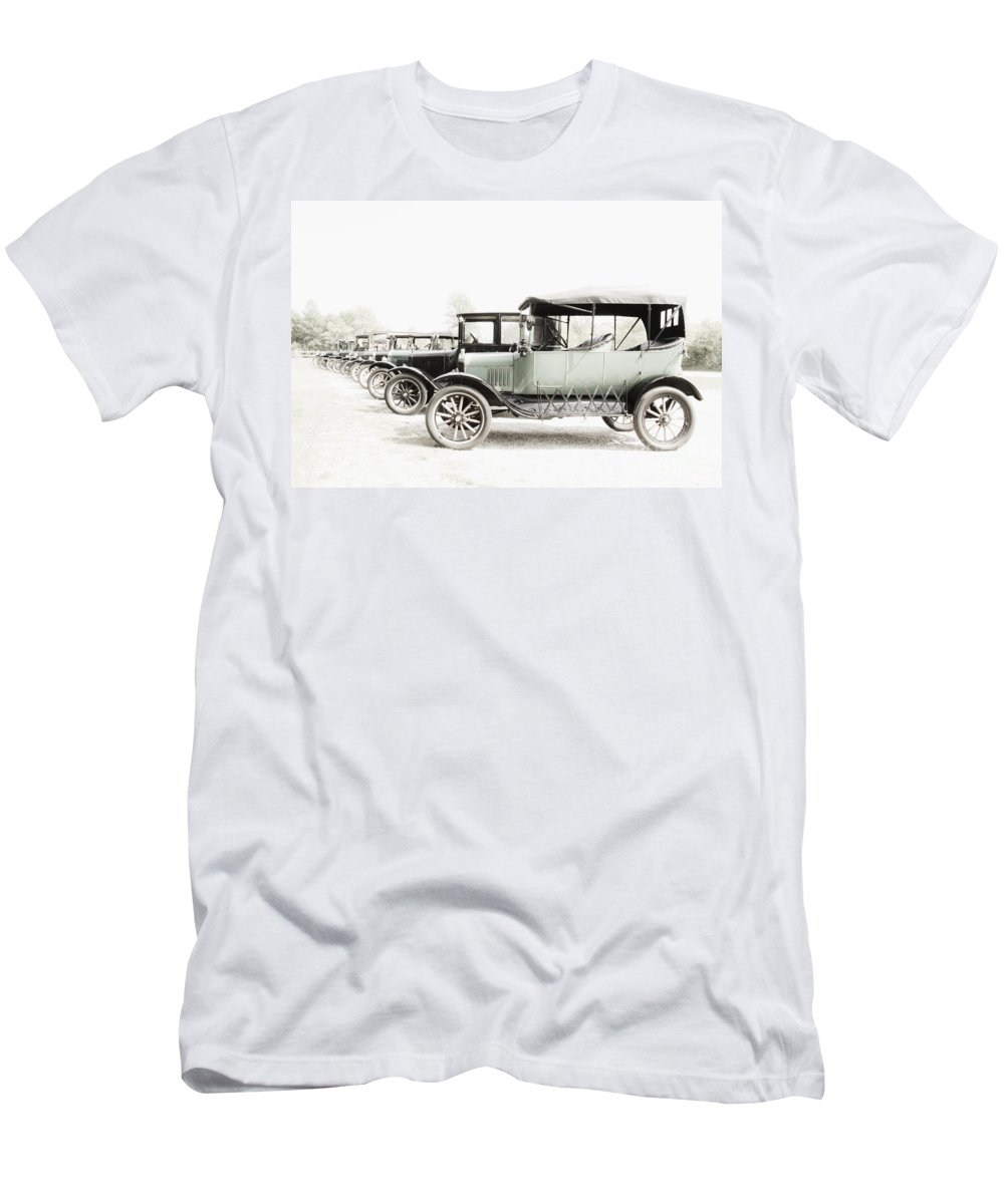 Ford; Model T; Vintage; Antique; Town; Parked; Row; Tires; Cars; Autos; Automobiles; Transportation; Turn Of The Century; Early 1900s; 20s; 1920s; Parking Lot; Vehicle; Pale; Color; Light; Dim; Pastel; High Key; White; Green Men's T-Shirt (Athletic Fit) featuring the photograph Vintage Parking by Margie Hurwich