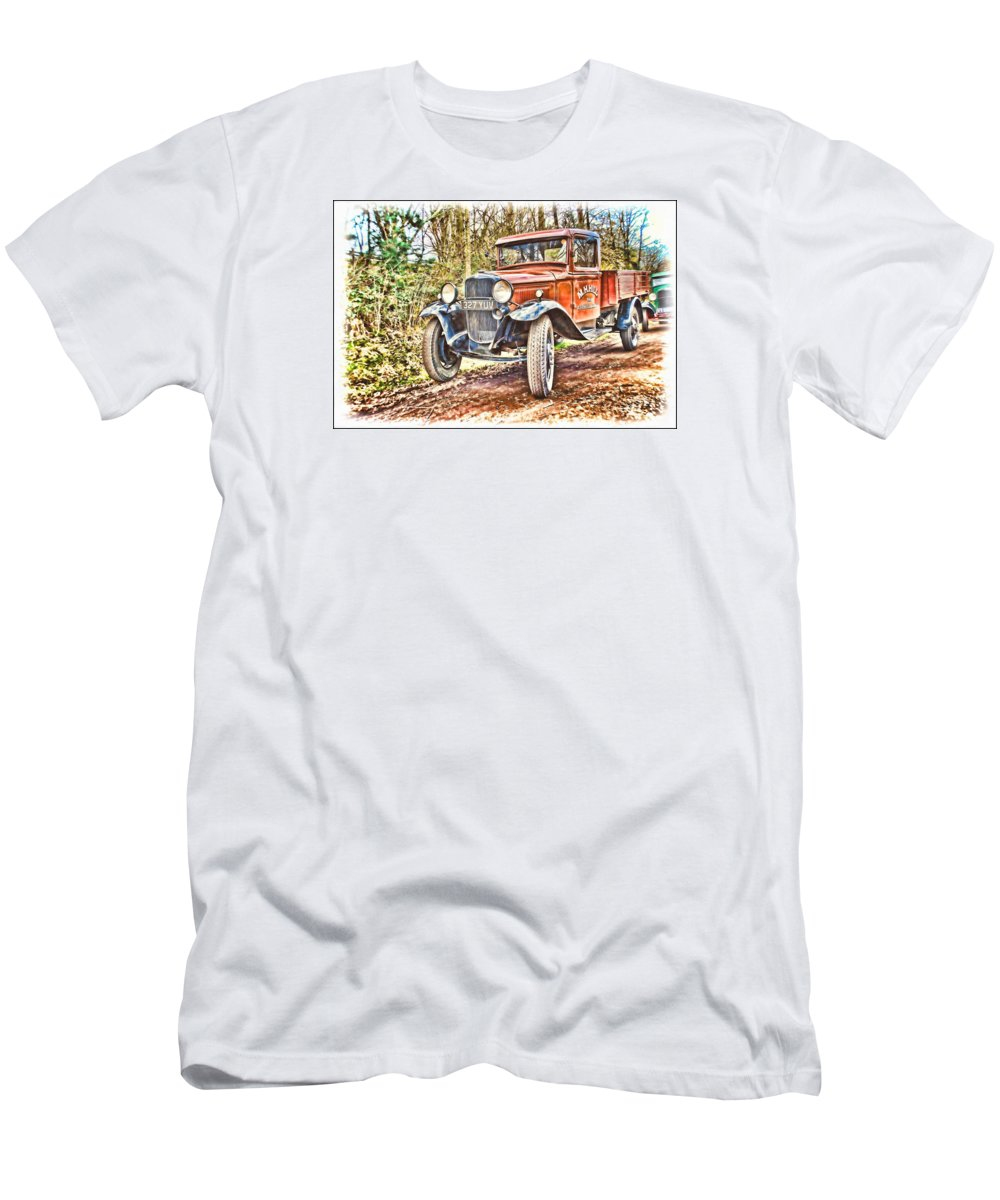 Beamish Men's T-Shirt (Athletic Fit) featuring the digital art Vintage Pickup Truck by John Lynch