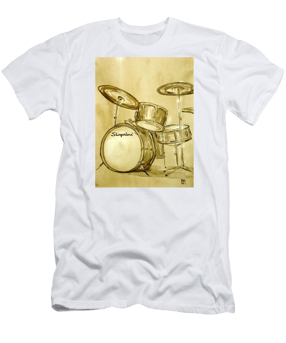 Drums T-Shirt featuring the painting Vintage Slingers by Pete Maier