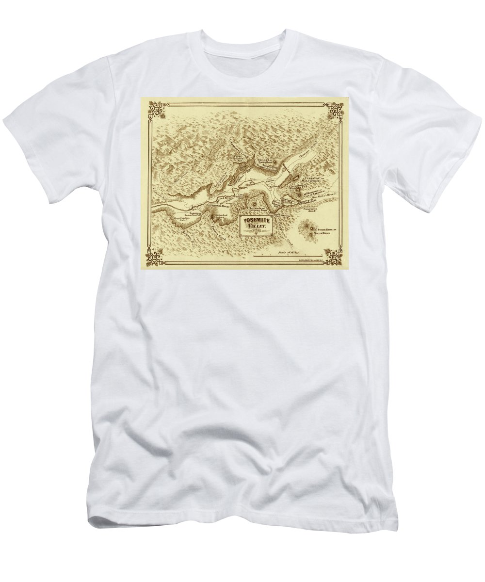 Yosemite Men's T-Shirt (Athletic Fit) featuring the photograph Vintage Yosemite Map 1870 by Andrew Fare
