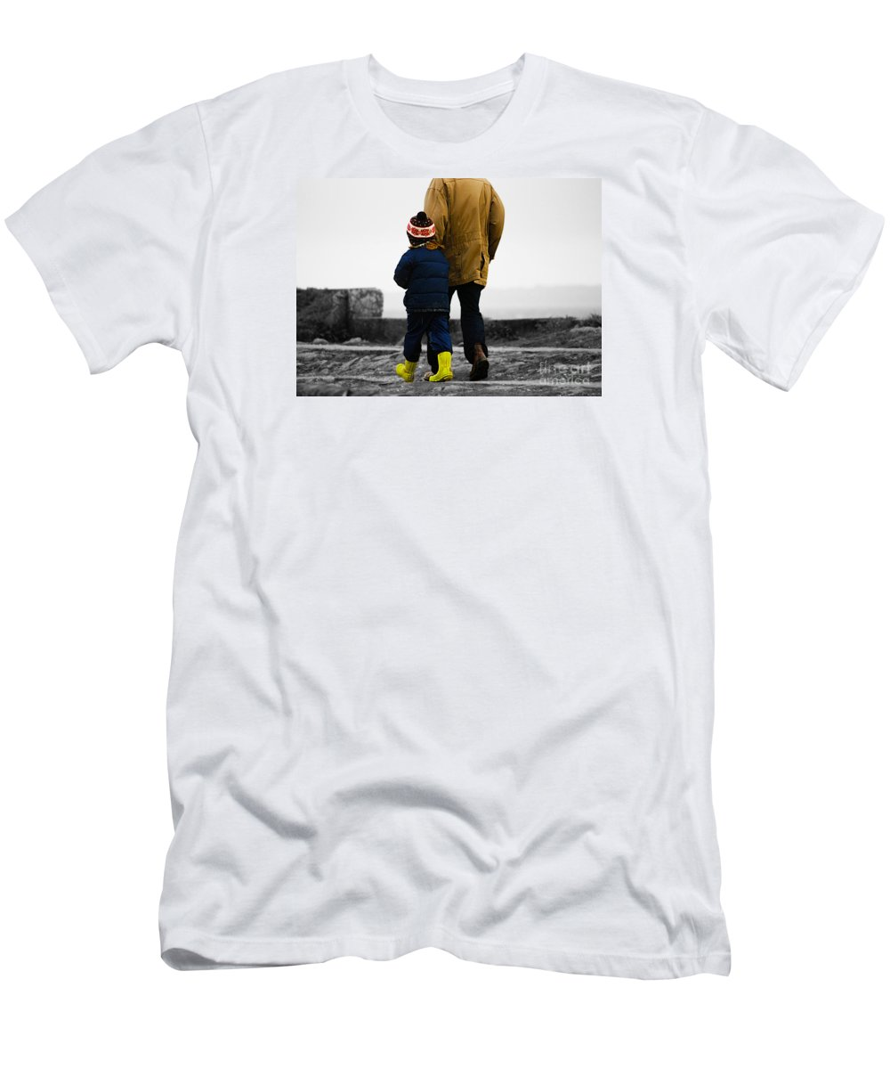 Girl Men's T-Shirt (Athletic Fit) featuring the photograph Walk Alongside Me Daddy by Terri Waters