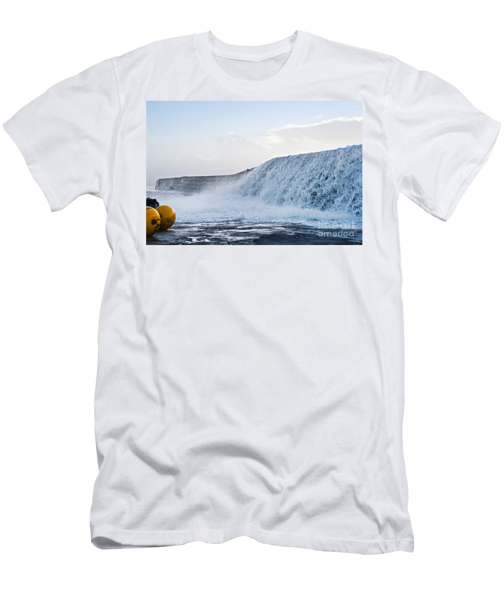 Lyme Regis Men's T-Shirt (Athletic Fit) featuring the photograph Wall Of Water by Susie Peek