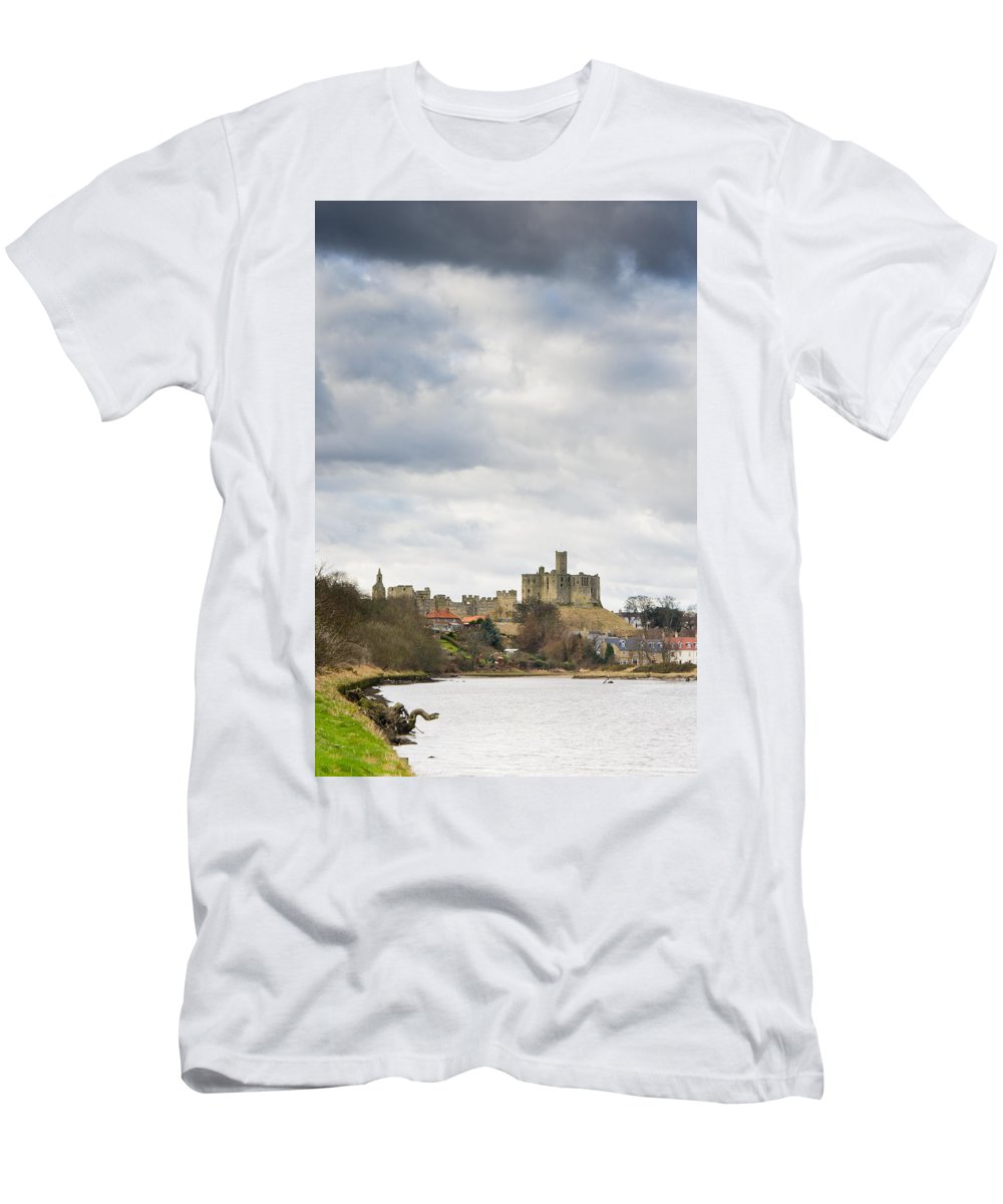 Northumberland Men's T-Shirt (Athletic Fit) featuring the photograph Warkworth Castle Above River Coquet by David Head