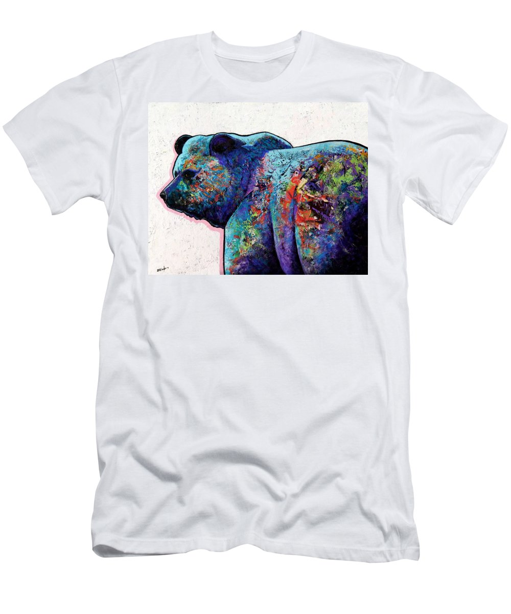 Wildlife Men's T-Shirt (Athletic Fit) featuring the painting Watchful Eyes - Grizzly Bear by Joe Triano