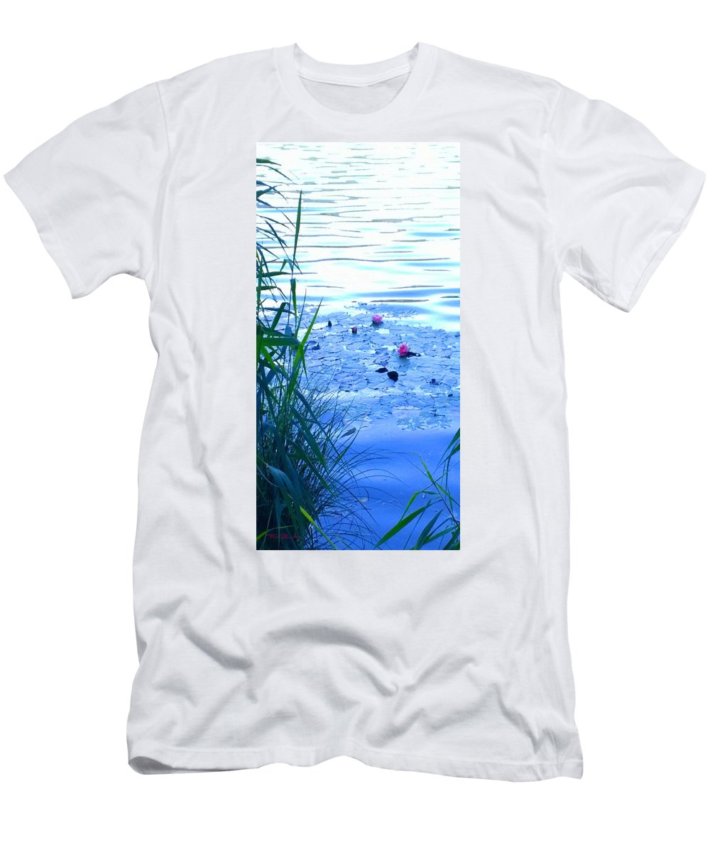 Landscape Men's T-Shirt (Athletic Fit) featuring the photograph Water Lilies Blue by Theo Danella