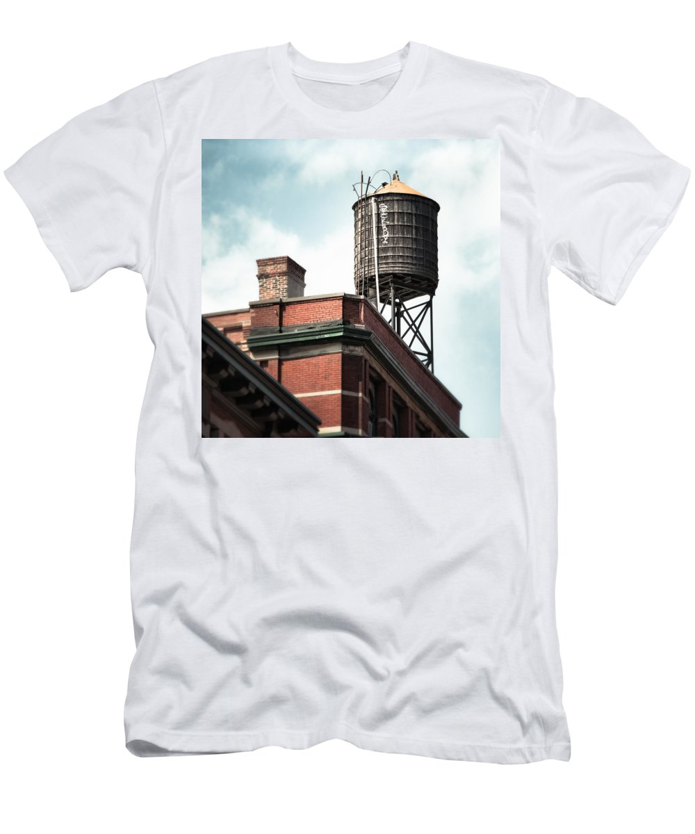 New York Men's T-Shirt (Athletic Fit) featuring the photograph Water Tower In New York City - New York Water Tower 13 by Gary Heller