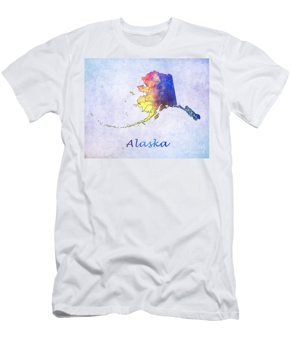 United States Map Men's T-Shirt (Athletic Fit) featuring the digital art Watercolor Map Of Alaska   United States by Justyna JBJart