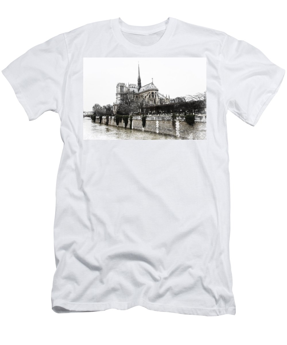 Evie Men's T-Shirt (Athletic Fit) featuring the photograph Watercolor Notre Dame Paris by Evie Carrier