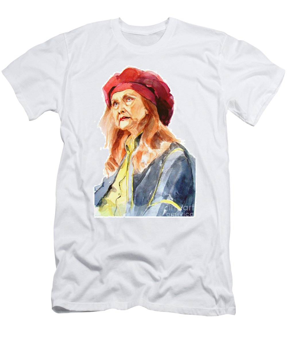 Watercolor Portrait Of Old Woman Men's T-Shirt (Athletic Fit) featuring the painting Watercolor Portrait Of An Old Lady by Greta Corens