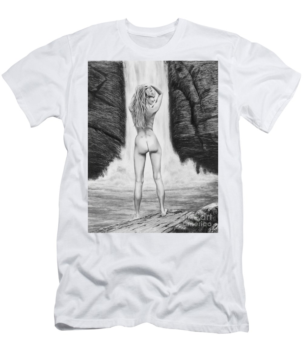 Waterfall Men's T-Shirt (Athletic Fit) featuring the drawing Waterfall Pin Up Girl by Murphy Elliott