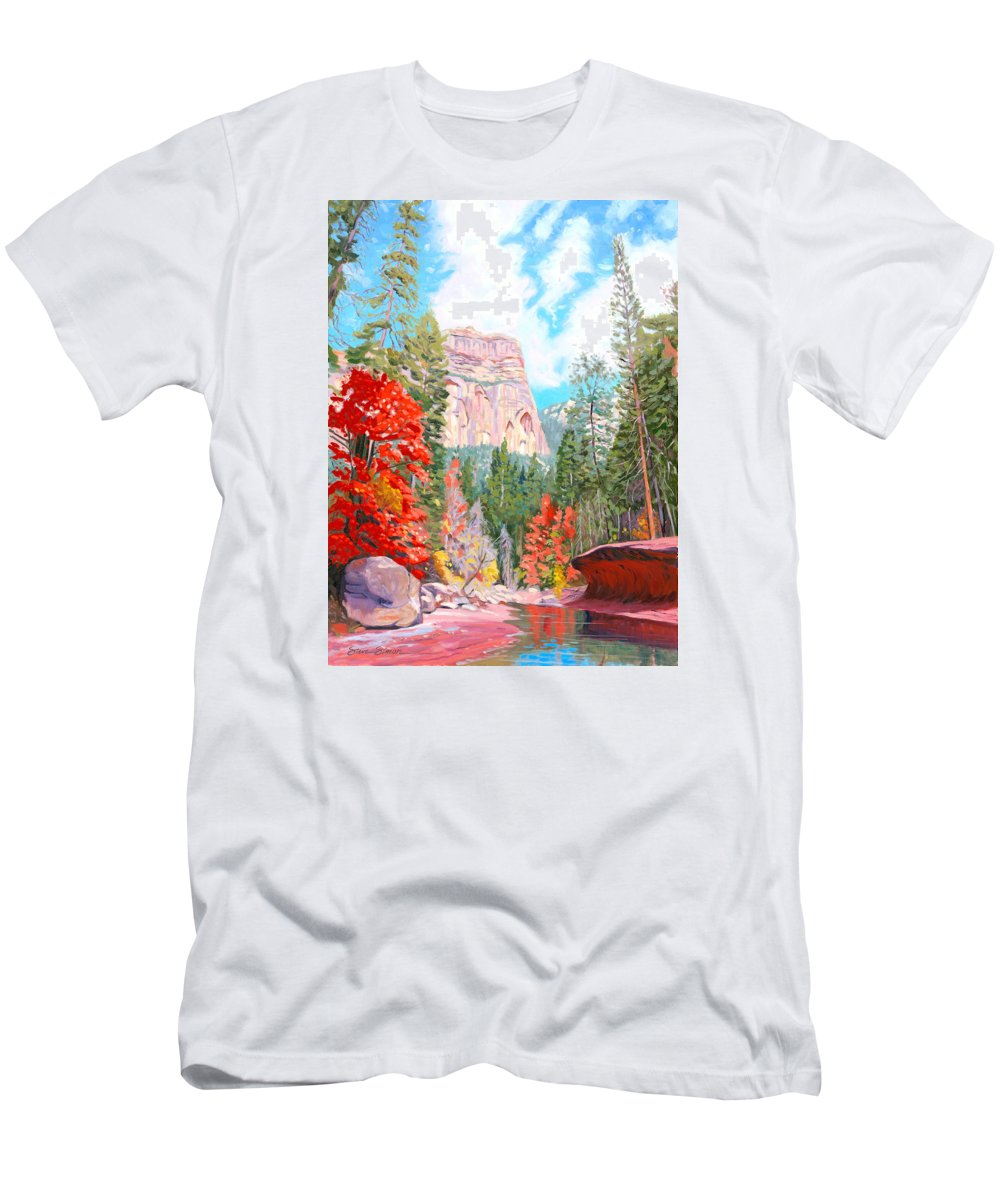 Sedona Men's T-Shirt (Athletic Fit) featuring the painting West Fork - Sedona by Steve Simon