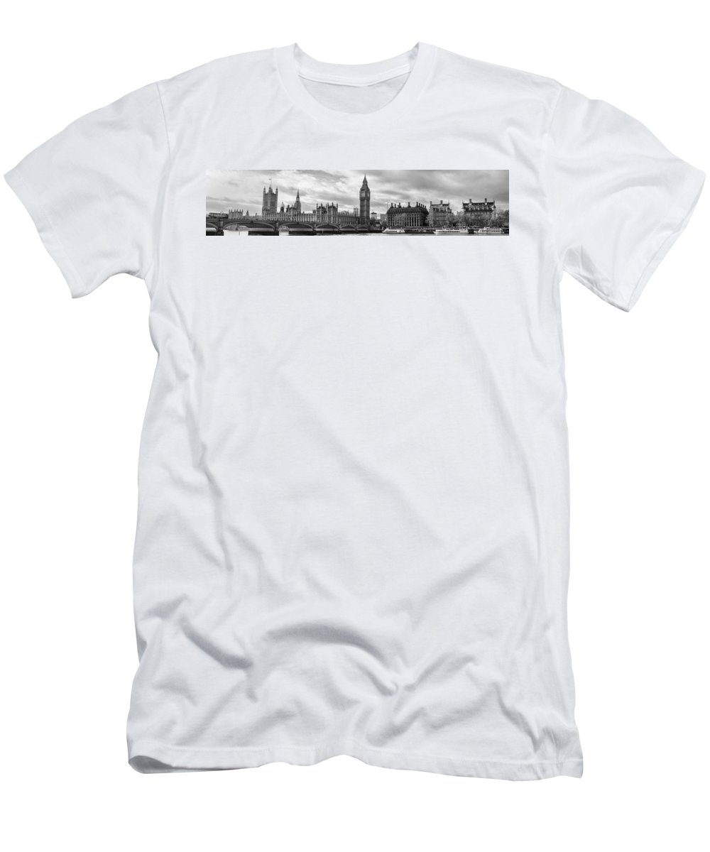 London Men's T-Shirt (Athletic Fit) featuring the photograph Westminster Panorama by Heather Applegate