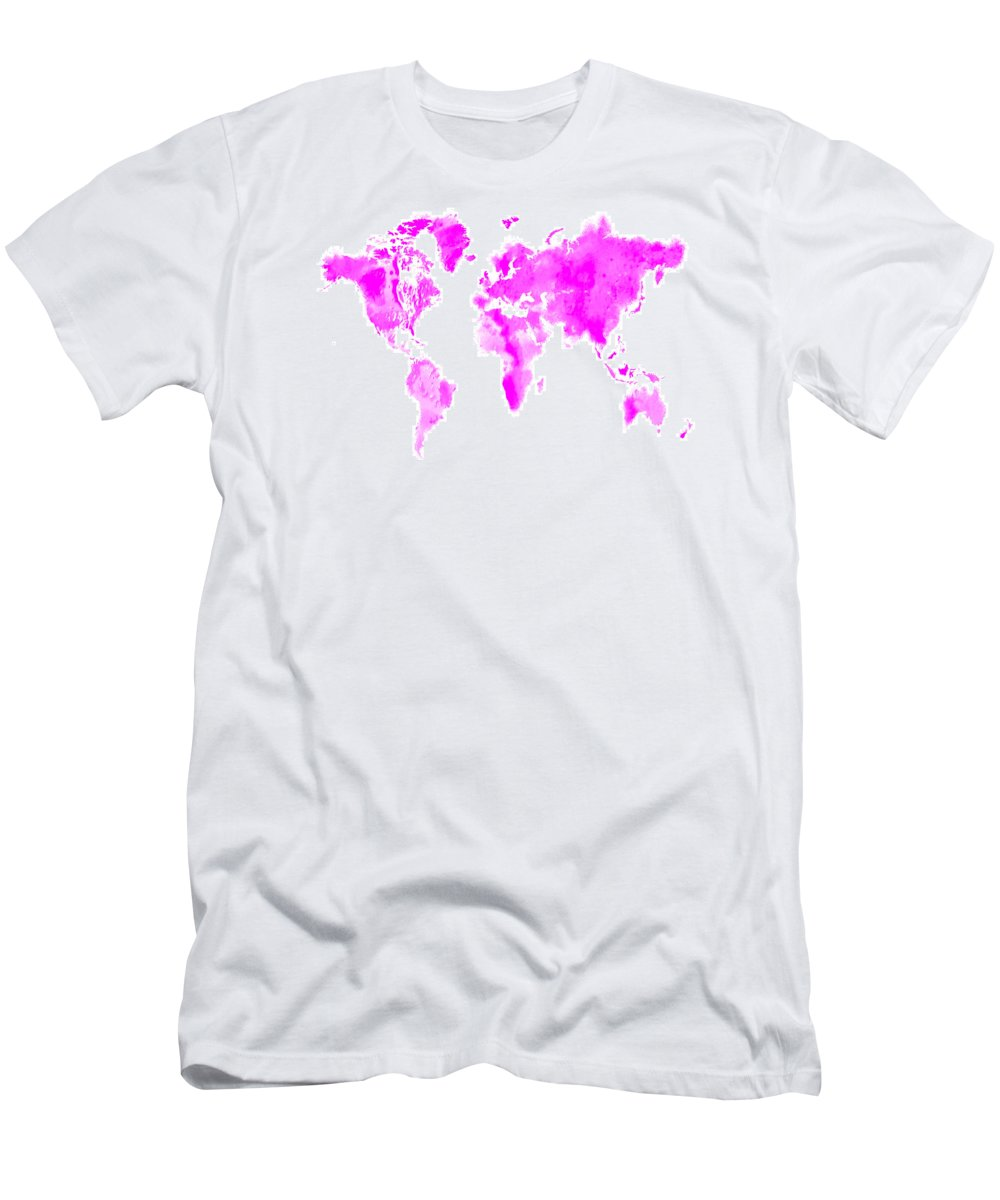 Splats Men's T-Shirt (Athletic Fit) featuring the digital art Wet Paint World Map by Brian Reaves