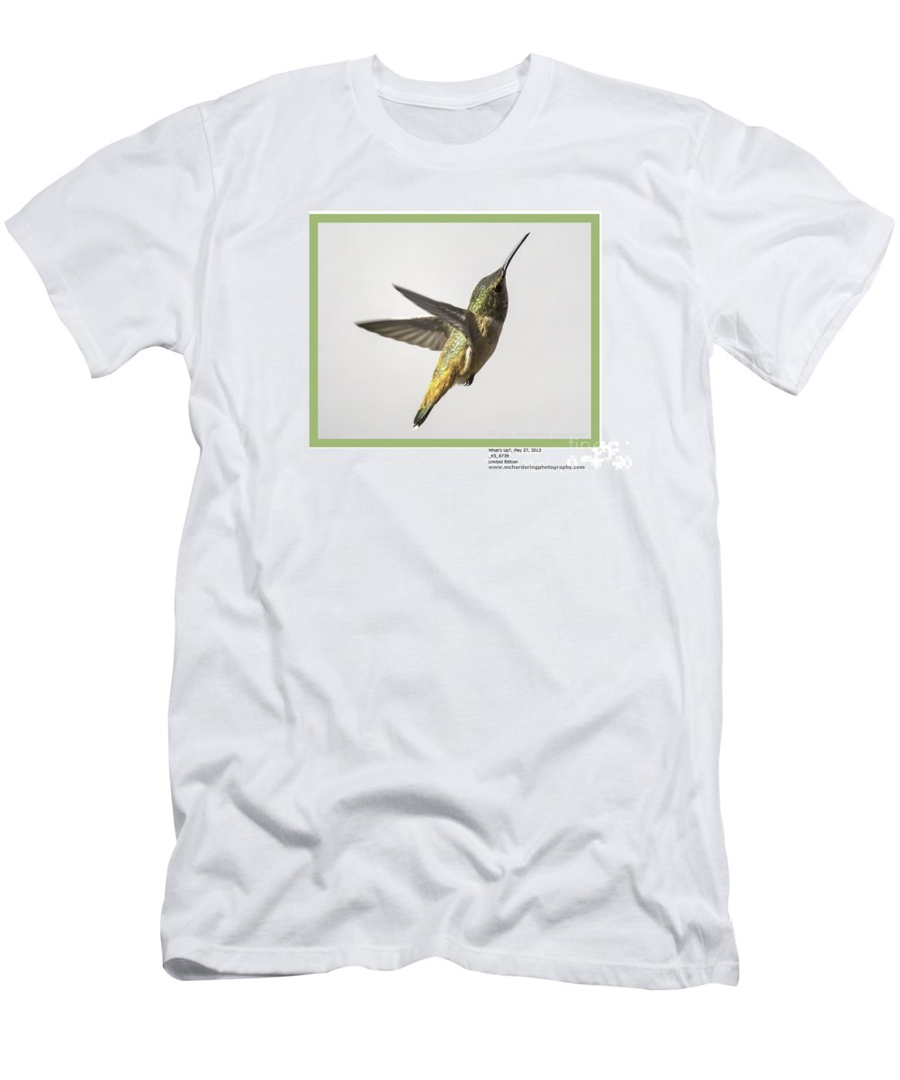 Allen's Hummingbird Men's T-Shirt (Athletic Fit) featuring the photograph What's Up? by Mike Herdering