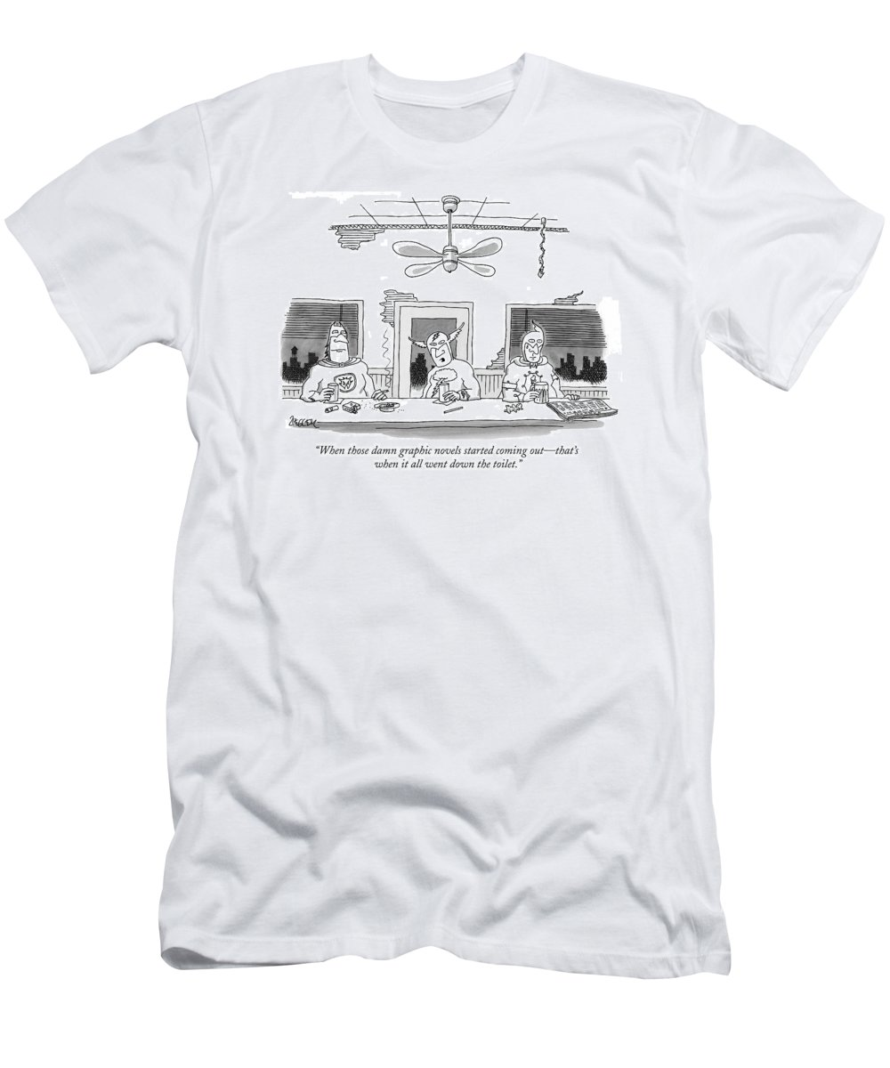 (comic Book Superheros Sitting In Bar Talking.) Characters Men's T-Shirt (Athletic Fit) featuring the drawing When Those Damn Graphic Novels Started Coming by Jack Ziegler