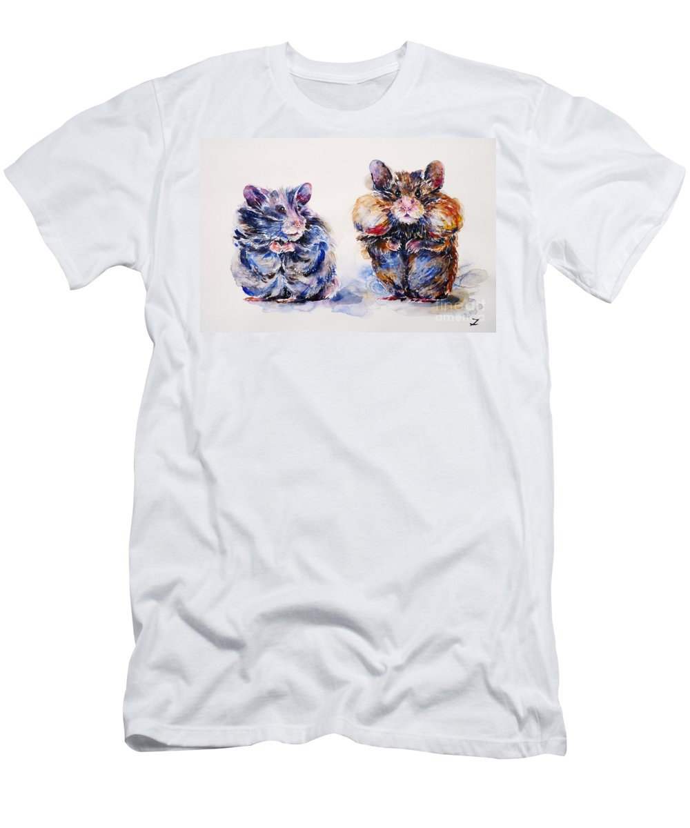 Hamsters Men's T-Shirt (Athletic Fit) featuring the painting Where Are The Biscuits by Zaira Dzhaubaeva