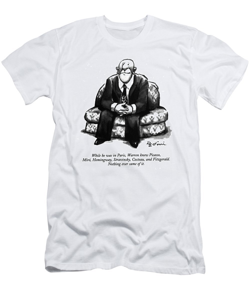 (a Rather Unhappy-looking Man Sits On A Sofa With His Hands Folded) Psychology Men's T-Shirt (Athletic Fit) featuring the drawing While He Was In Paris by Eldon Dedini