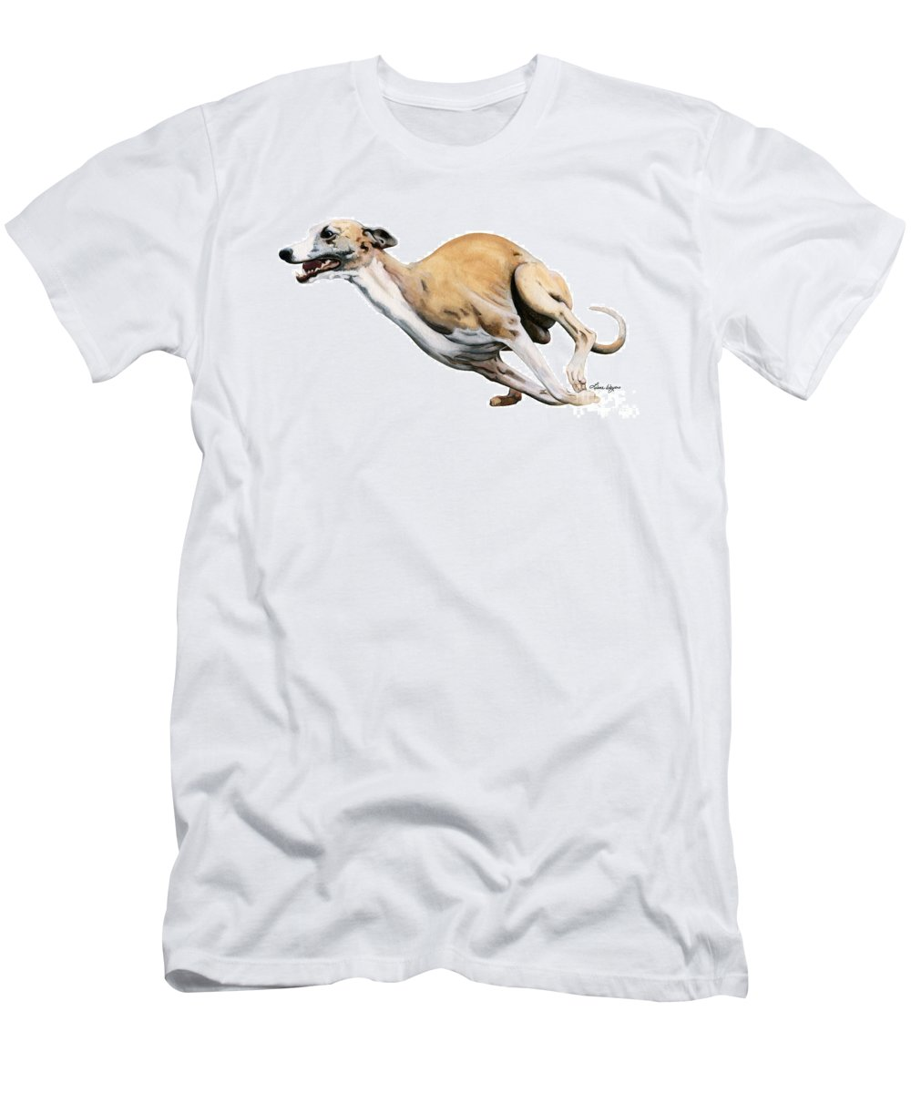 Whippet Men's T-Shirt (Athletic Fit) featuring the painting Whippet In The Wind by Liane Weyers