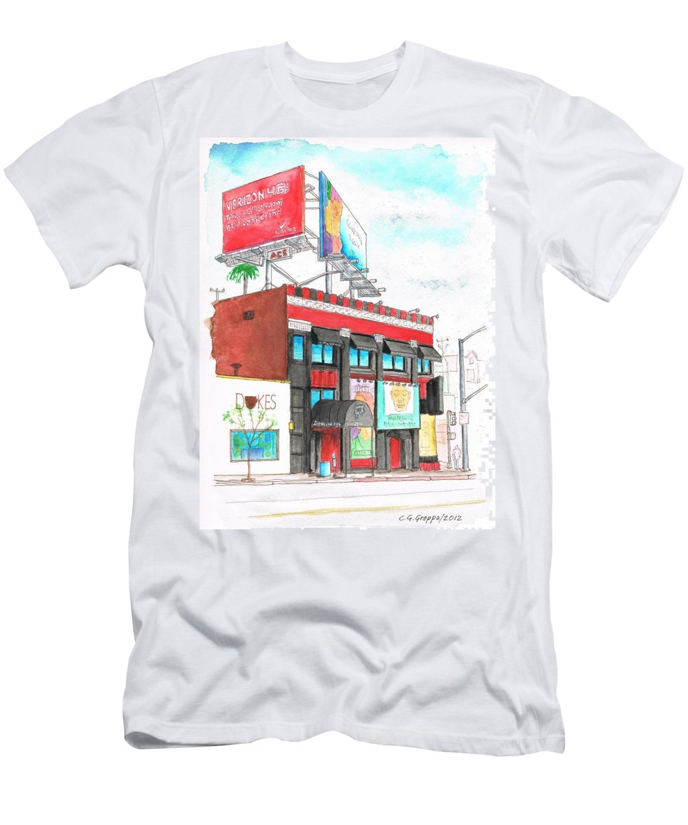 Whisky-a-go-go Men's T-Shirt (Athletic Fit) featuring the painting Whisky-a-go-go In West Hollywood - California by Carlos G Groppa