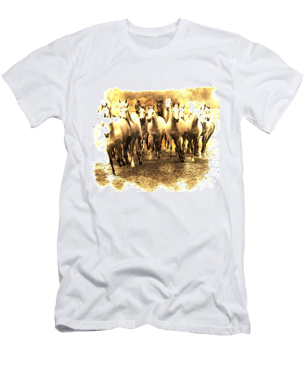 Horse Men's T-Shirt (Athletic Fit) featuring the photograph White Ghosts by Angel Ciesniarska