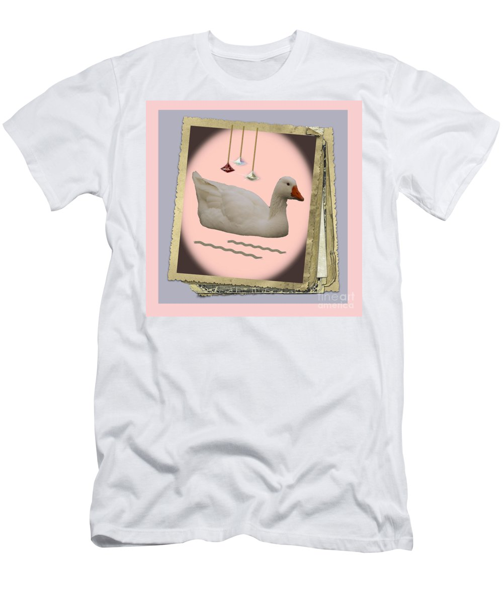 Ducks Photographs Men's T-Shirt (Athletic Fit) featuring the photograph White Goose Series 2 by Barb Dalton