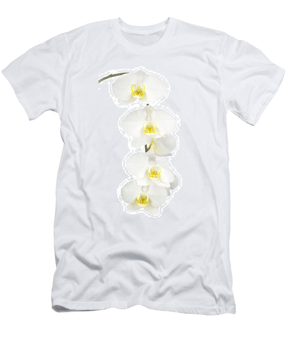 Orchid Men's T-Shirt (Athletic Fit) featuring the photograph White Orchid-4791 by Rudy Umans
