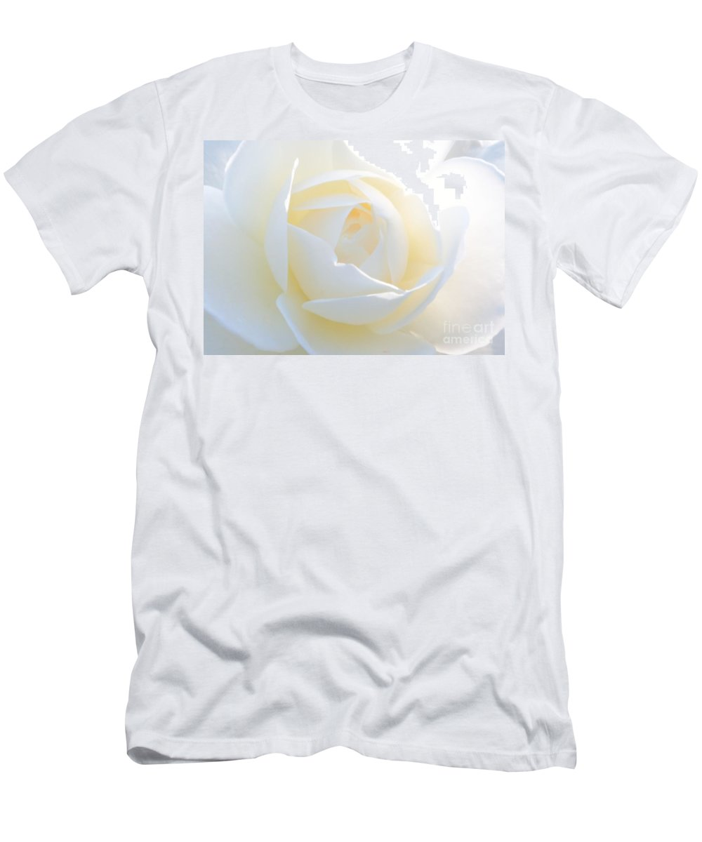 Rose Men's T-Shirt (Athletic Fit) featuring the photograph White Rose Energy by Carol Groenen