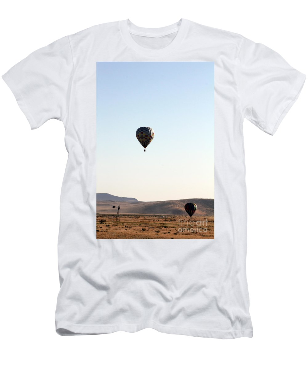 Windmill Men's T-Shirt (Athletic Fit) featuring the photograph Windmill Ballooning by Alycia Christine