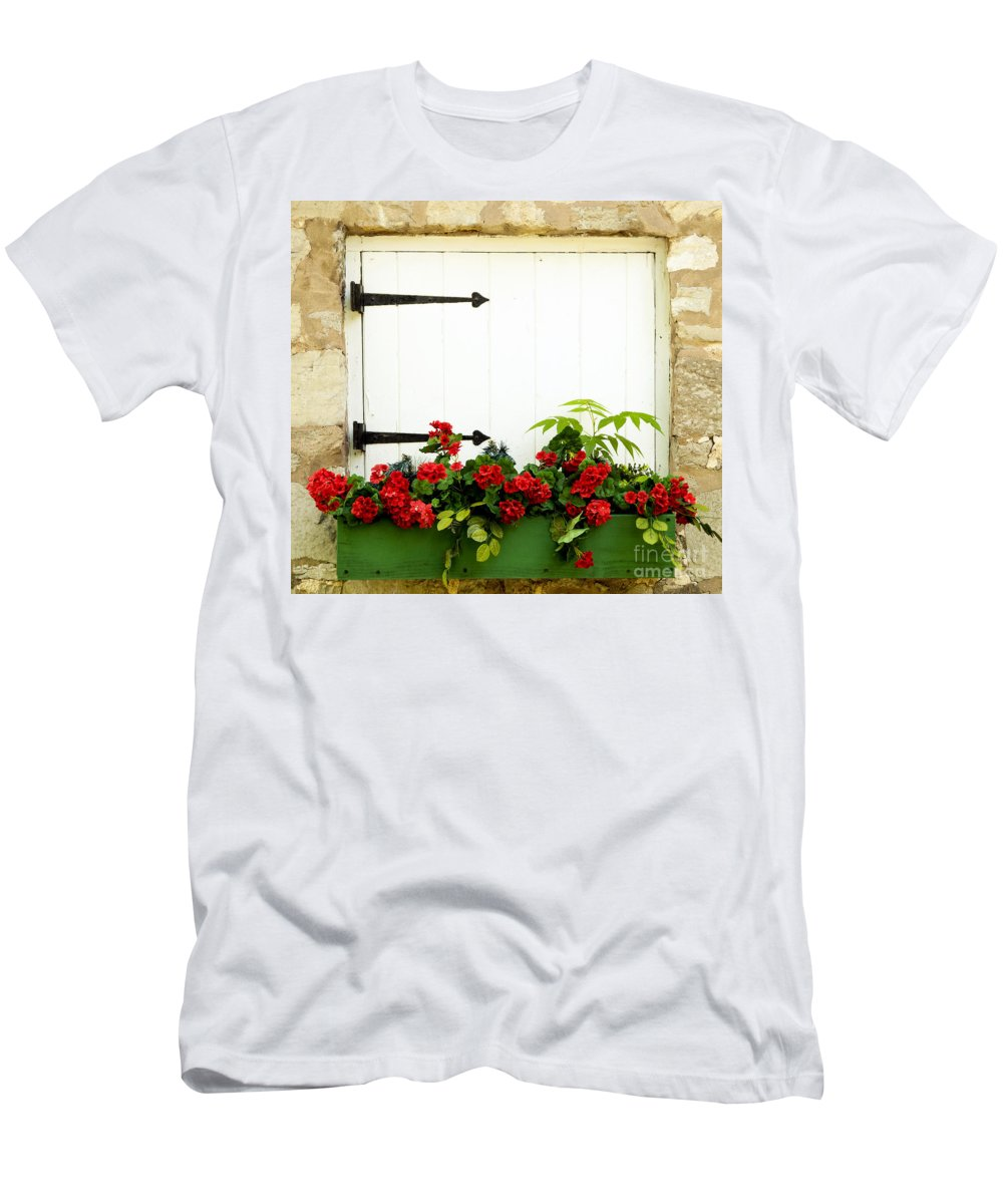 Flowers Men's T-Shirt (Athletic Fit) featuring the photograph Window Box 2 by Paul W Faust - Impressions of Light