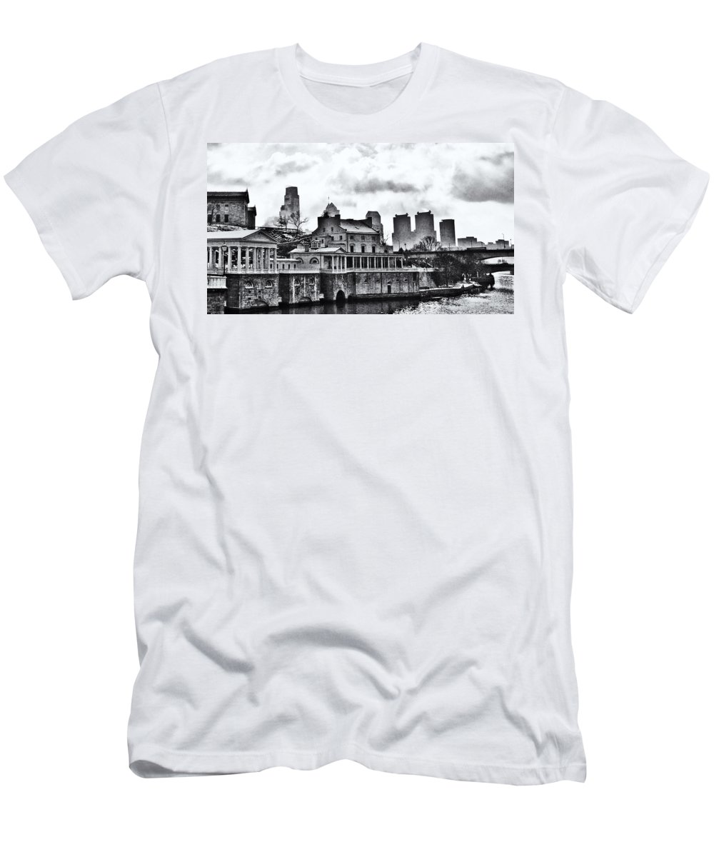 Winter Men's T-Shirt (Athletic Fit) featuring the photograph Winter At The Fairmount Waterworks In Black And White by Bill Cannon